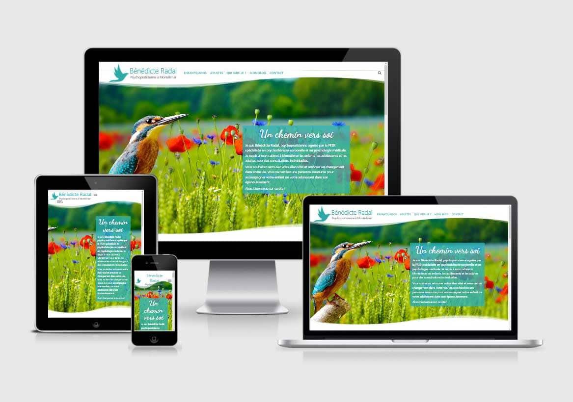 Création site internet psychothérapie Bénédicte Radal par Laurent Chabaud, Aubenas, Ardèche