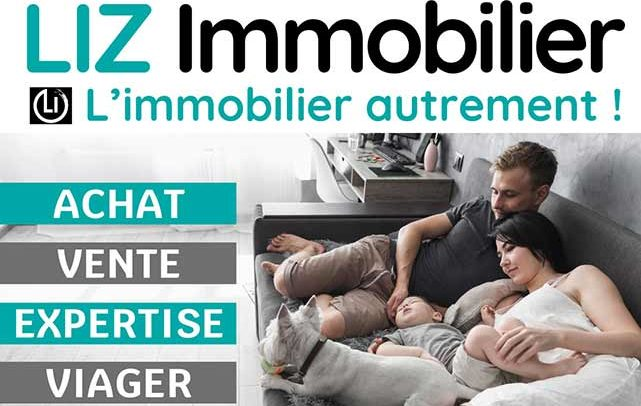 Graphisme panneau publicitaire routier Liz Immobilier Ardèche Privas