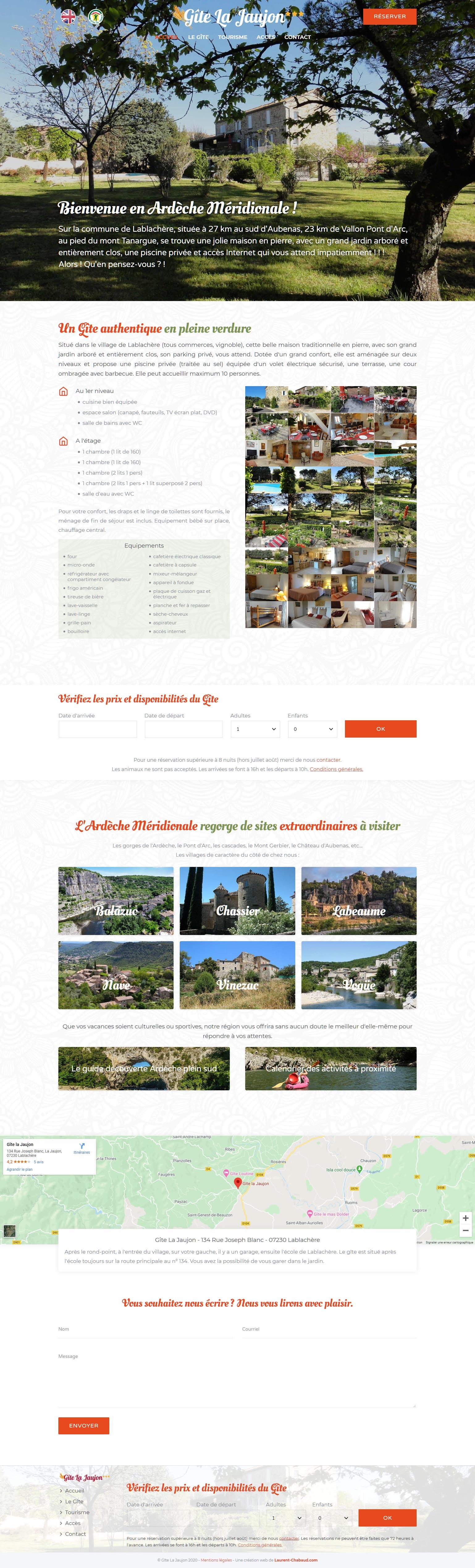Site web e-commerce réservation Gîte La Jaujon - Web design Laurent Chabaud