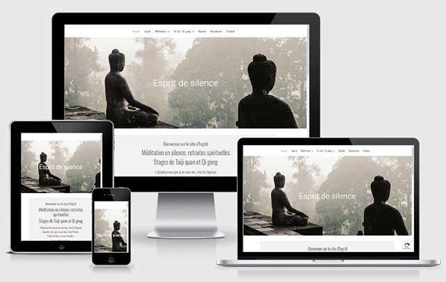 Site internet Esprit de silence, retraites de méditation Paris, Ardèche. Web design Laurent Chabaud