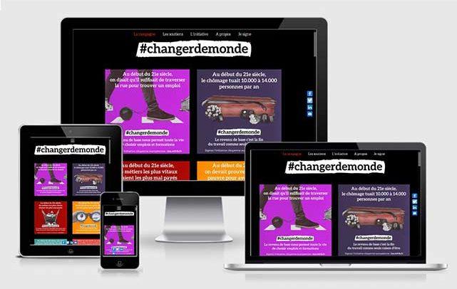Conception et web design de la camapgne #changerdemonde